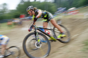 female mountain biker in a xc race